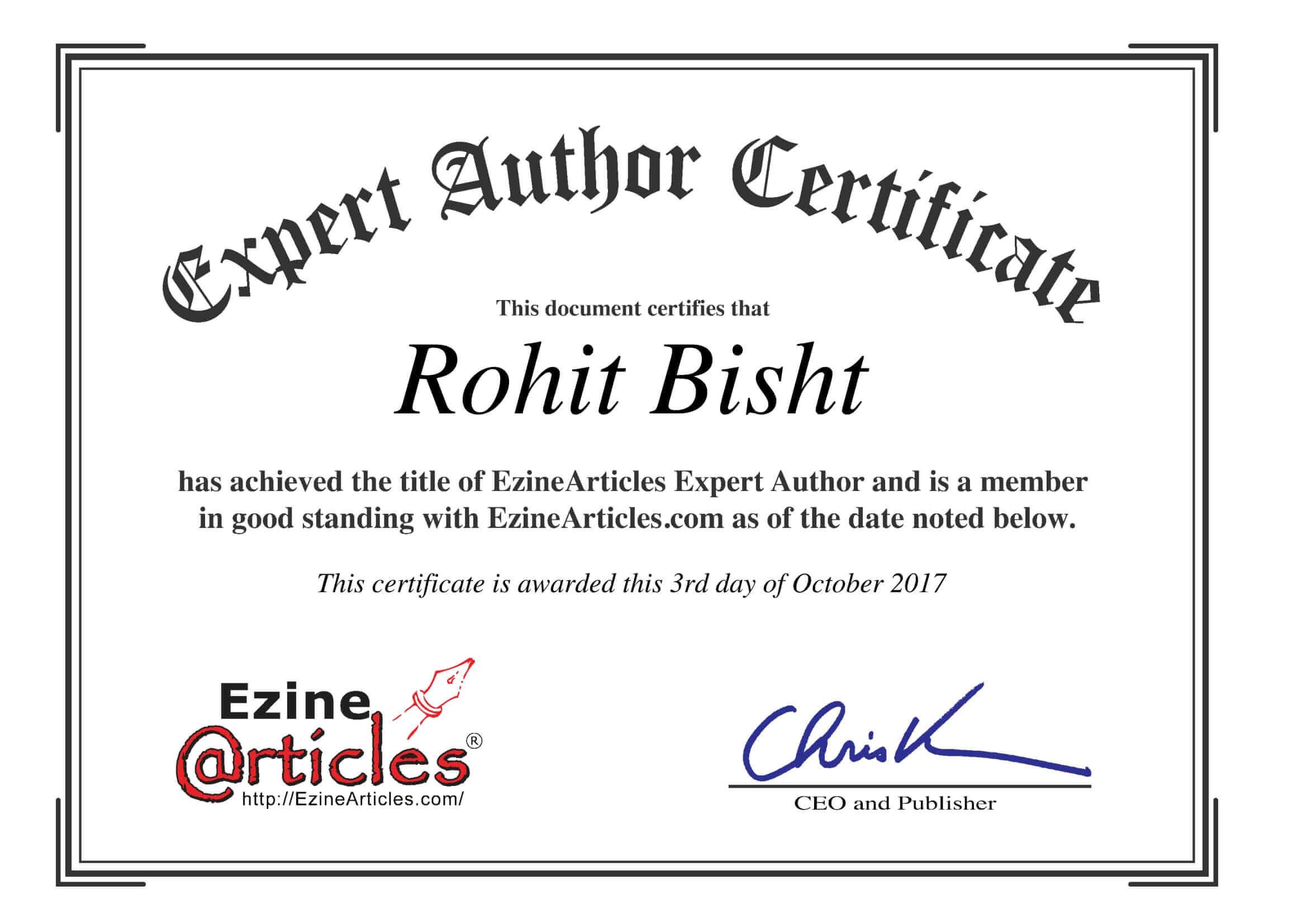 Rohit Bisht Ezine Article Expert