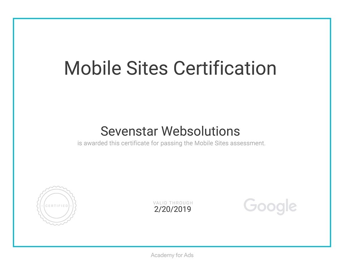 Sevenstar Websolutions Certification