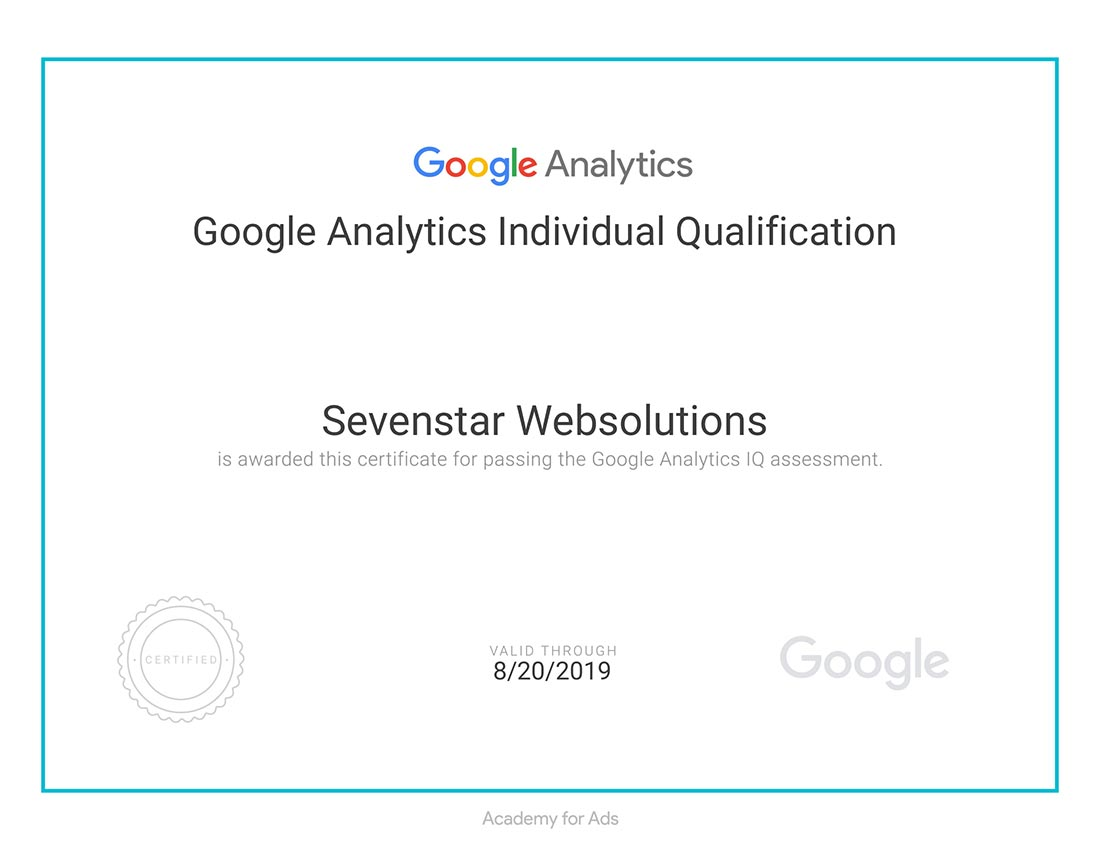Sevenstar Websolutions Google Analytics Certification