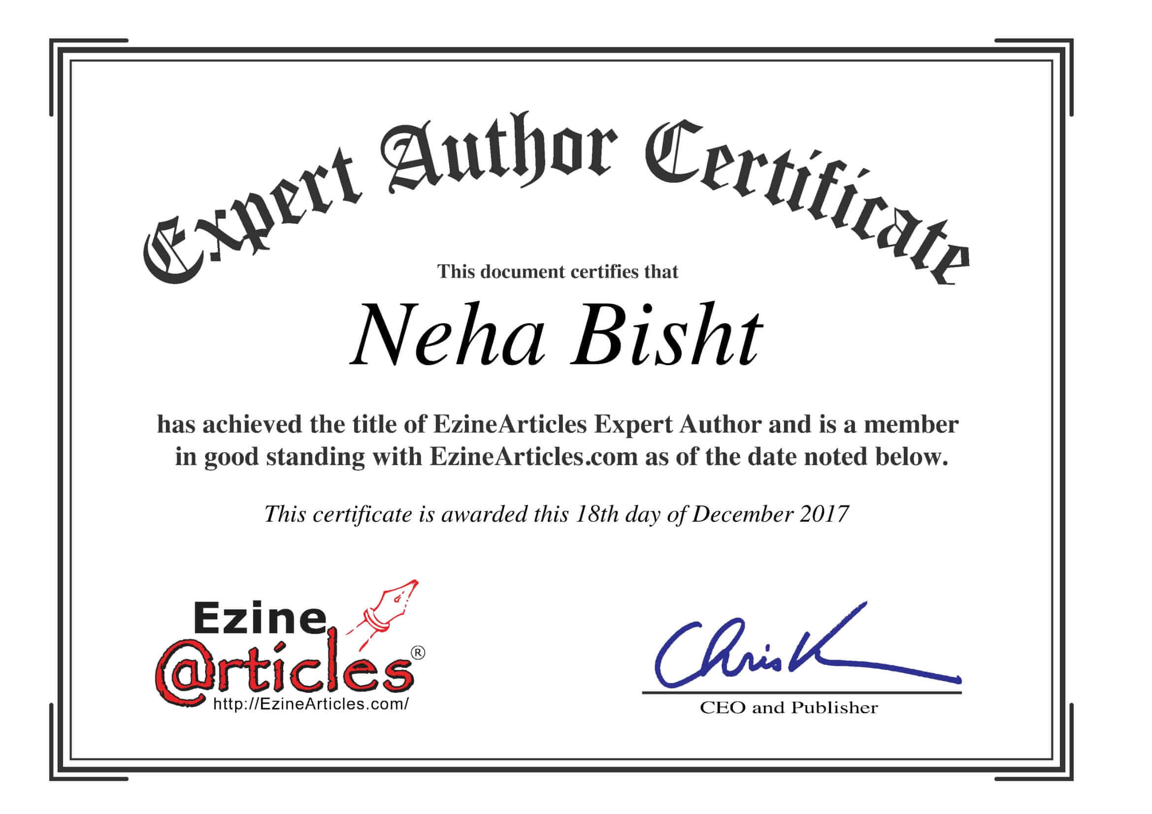 Neha Bisht Ezine Article Expert