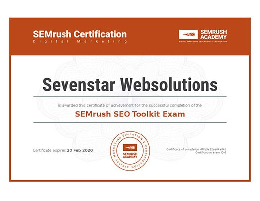 Sevenstar Websolutions Awards